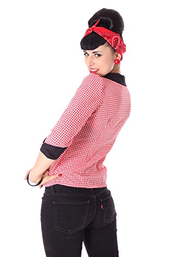 SugarShock Raquel Rockabilly 50er Pin Up retro Gingham 3/4 Arm Bluse kariert - 5
