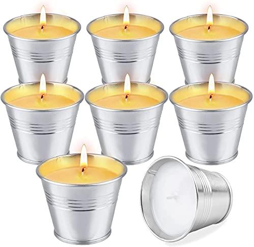 OFUN Velas de citronela para exteriores, 8 piezas 100% velas perfumadas de cera de soja para jardín, camping, viajes, regalos, picnic, piscina, reunión familiar, regalo de verano