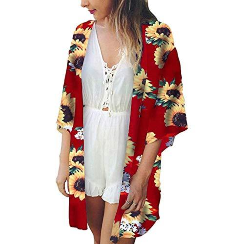 HunYUN Women Beach Tops Print Sunflower Swimwear Cardigan Swimsuit Bikini Cover Up Loose Fitting Bat Wing Plain Shirts