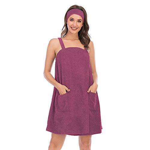 Conjunto de albornoz para mujer, toalla de baño para niña, sin mangas, vestido de rizo con correas de spa, ropa de dormir y cabezal de ducha de pelo, morado, XL