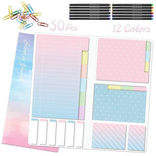 Hommie Haftnotizen-Set, selbstklebend, mit 12 bunten Tintenstiften auf Wasserbasis, 50 Stück farbige Büroklammern, Lesezeichen und Textmarkern