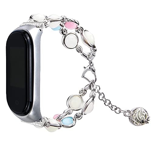 Compatible for Mi Smart Bracelet Watch Band,Adjustable Women/Girls Elastic Handmade Night Luminous Pearl Bracelet Replacement with Essential Oil Pendant Bands (Color : Silver, Size : Mi 3/4)