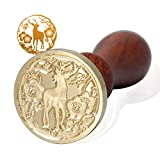 FsAlisa Wax Seal Stamp Sealing Wax Stamp Vintage Removable Brass Head Wooden Handle Great for Embellishment of Cards Envelopes, Wedding Invitations, Wine Packages, Gift Wrapping (Sika Deer)