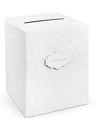 PartyDeco Scatola Porta Buste Ricamata, Bianco, 25x25x30 cm