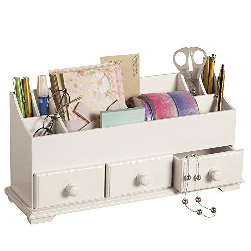 Drawer & Makeup Storage Organizer for Desk Dresser Bathroom Countertop, White