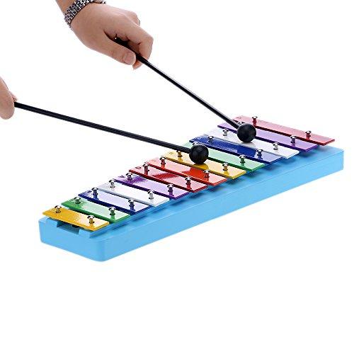 ammoon 13 Bar Kids Glockenspiel Xilófono Nota Colorido Instrumentos de Percusión para la Educación El Ritmo de Juguete para el Niño del Bebé de los Niños