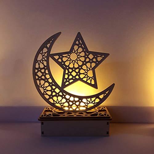 siwetg aus Holz, Eid Mubarak, Mond und Stern, Islam-Anhänger mit LED-Lichtern, Dekoration für Partys, zu Hause und als Geschenk 02