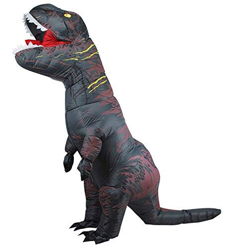 DEJUHUI Disfraz inflable de dinosaurio para adulto T-Rex Fancy Dress de Navidad para cosplay disfraz inflable de Halloween (negro, L)