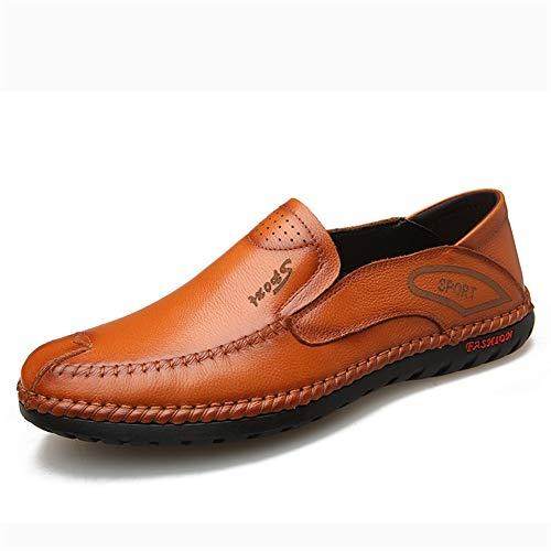 XYZDZ Calzado Casual clásica de Negocio de conducción de los Holgazanes de los Hombres de Slip-en el Cuero sólido Dedo del pie Redondo Color de Costura Plana Antideslizante bajo-Top para Hombre