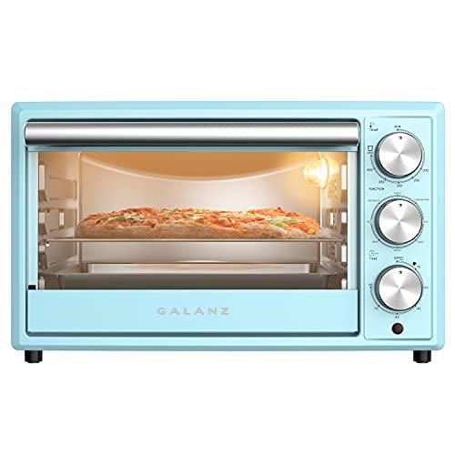 Galanz GRH1209BERM151 Retro Toaster Oven, True Convection, Indicator Light, 8 Cooking Programs, 1500W/120Volts, 0.9 Cu.Ft Capacity, Bebop Blue