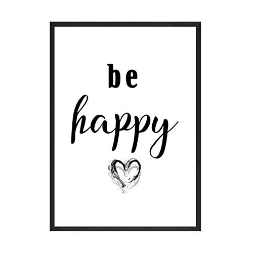 Hllhpc Be Happy Beauty Wall Art Picture voor meisjes, kamersalon, wanddecoratie, hoge hakken, lippenstift, canvas, drawing, fashion poster en print 40X60cm No Frame Picture 2