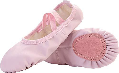 JIASUQI Kinder Split Ledersohle Ballettschuhe Tanz Yoga Gymnastik Socken Pink, 26 EU