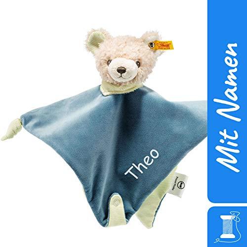 STEIFF Schmusetuch Freundefinder Teddybär mit Namen Bestickt, Baby & Kleinkinder Spielkamerad & Einschlafhilfe, Kuscheltuch Schnuffeltuch Geschenkidee personalisiert, Mädchen & Junge, blau