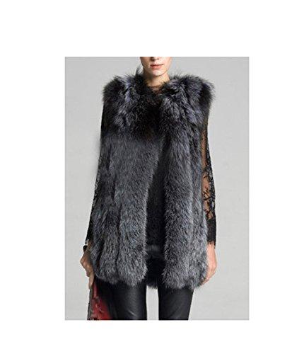 Huaishu Dames-bont lange jas, feesten en modieuze dunne eenvoudige faux-pelz-jas, bovenkleding, wintervest, herfst