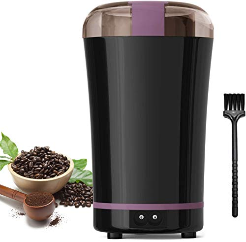 Coffee Grinder Electric, Portable Coffee Bean Grinder/Coffee Blender/Coffee Mill for Spices, Food, Nuts, Herbs with Stainless Steel Blades and Cleaning Brush, 300W Powerful, 100g Capacity
