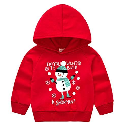 LEXUPE Baby Jogginganzug Mädchen 3PCS Outfits SetBrief Gedruckt Spielanzug Overall + Hirsch Sport Hosen + Soft Cap Weihnachten Outfits Set Prinzessin Rot Freizeit Kleider(A-Rot,120)