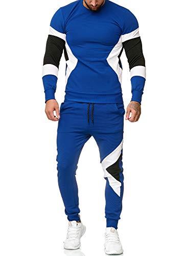OneRedox | Herren Trainingsanzug | Jogginganzug | Sportanzug | Jogging Anzug | Hoodie-Sporthose | Jogging-Anzug | Trainings-Anzug | Jogging-Hose | Modell 1215 Blau XS
