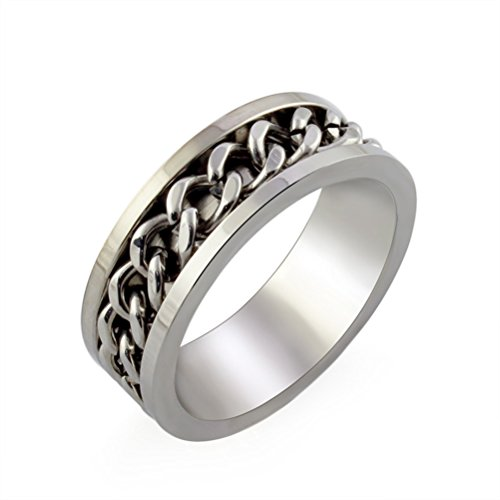 HIJONES Jewellery Mens European Style Rotatable Chain Stainless Steel Ring Size M (Silver)