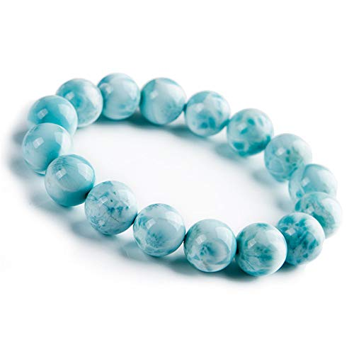 Jaipur Gems Mart Natürliche AAA Sky Larimar-Armband Stretch-Armband | 7-7,5? Larimar-Armband Edelstein-Armband Länge | Unisex-Armband | 10mm runde Form Perlen | Männer Perlen Armband