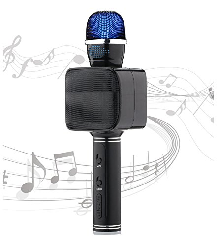 Lightweight Microphone Karaoke Bluetooth Microphone Flashing Lights Aluminum Alloy USB/TF Kids Microphone Karaoke Machine for iPhone/Android/iPad/Sony PC and All Smartphone (Black)