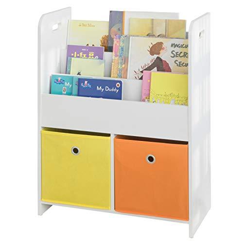 SoBuy KMB27-W Kinder Bücherregal Kinderregal mit 3 Ablagefächern und 2 Stoffboxen Spielzeugregal Aufbewahrungsregal für Kinder Spielzeug-Organizer Weiß BHT ca.: 58x76x27cm