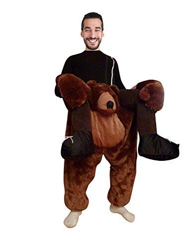 Seruna Carry-me Braunbär-Kostüm, F100/00 Gr. M-L, Bären-Faschingskostüm, für Fasching Karneval, Karnevals-Kostüme Männer Frau-en Faschings- Fasnachts- Tier-e Geburtstags- Geschenk-e Huckepack-