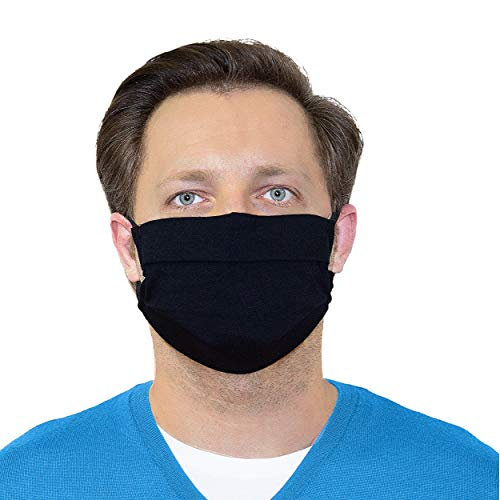 5er Pack Mund- Nasenmaske - Mundschutz Maske - Behelfsmaske - Baumwolle 3-lagig - waschbar - unisex - schwarz