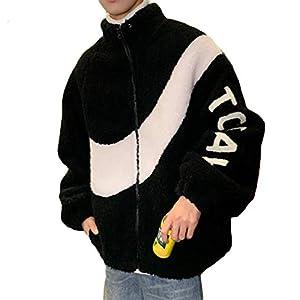Ptorボアブルゾン メンズ ゆったり コート ショート丈 切り替え おしゃれ ボアジャケット ジップアップ もこもこ アウター 防寒 カジュアル ジャケット ストリート系 冬(4黒)