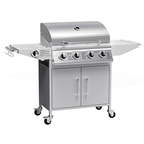 The Georgia Classic - 4 Burner Gas BBQ with Side Burner in Silver - Free BBQ Cover and Utensil Set