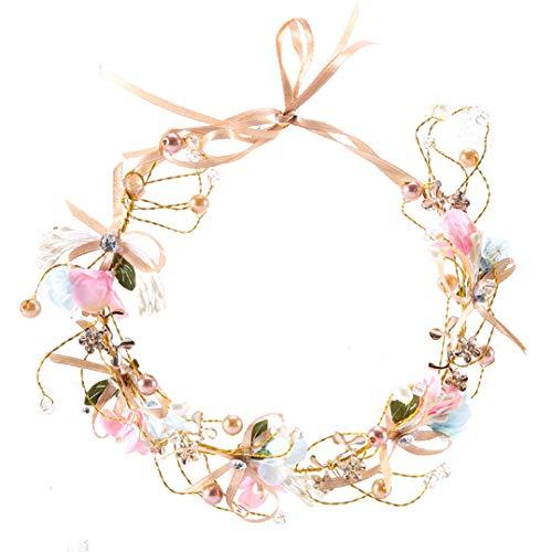 Flower Crown Headband Wedding Women Wreaths child Flower Ribbon Garland Bride Bridesmaids pearl Party Hair Accessories (multicolor)