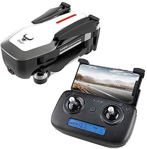 Dapei SG906 Optischer Fluss Drohne mit 4Karat Ultra clear Kamera live übertragung 5G WiFi FPV RC Quadrocopter Eine Schlüsselretoure Notlandung RC GPS Drohne mit LED für Anf er Schultertasche (Weiß
