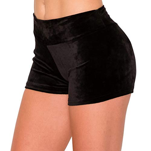 ALWAYS Women's Velvet Pajama Shorts - Premium Soft Fluffy Plush Lounge PJ Short Pants Black M
