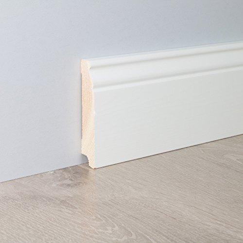Sockelleiste Fußbodenleiste Altbau-Leiste Hamburger Profil in weiß lackiert aus unbehandeltem Kiefer-Massivholz 2400 x 19 x 96 mm (mit kleinem Kabelkanal)