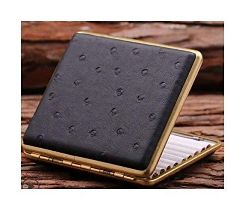 Cigarette Case, groot tweepersoonsbed Handmade/Druk van het Leer Sleeve, is het beste cadeau, Brown (Kleur: Black1, Grootte: 9.5 * 8.2 * 1.8cm) Prachtige sigarettenkoker.