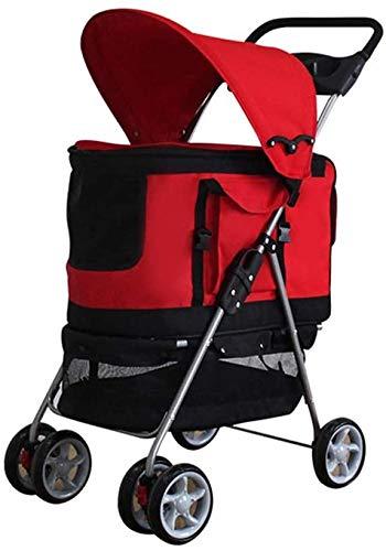 DSHUJC Hondenbuggy Cat Stroller Baby Carriage, 4 Wheels Pet Stroller, Cat Travel opvouwbare kooi kinderwagen met bekerhouders en verwijderbare drager