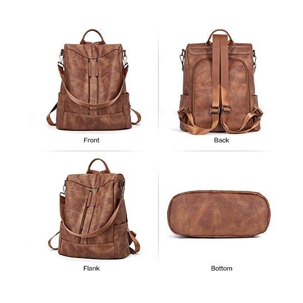 BROMEN Women Backpack Purse Leather Anti-theft Travel Backpack Fashion Shoulder Handbag 9