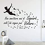 XAOQW Cartoon Wall Sticker Nursery Kids Room Peter Pan Fly Italian Never Stop Dream Inspiral Cita Wall Decal-Grey_56cmwidex42cmhigh