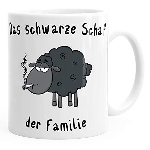 MoonWorks Kaffee-Tasse Das Schwarze Schaf der Familie Smoke weiß Unisize