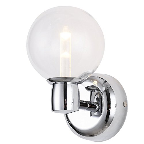 RUNNLY Wall Lamp Sconce Light Bathroom Vanity Lighting with Cree Chip 5W, Chrome with Clear Glass