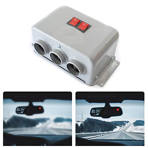 Car Heater 3 Holes 24V/800W Dual Gear Winter Auto Heater Warm Dryer Window Glass High Power Low Noise Defogging Defroster Vehicle Heater Decoration Supplies Car Accessories