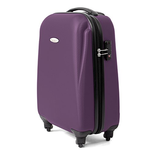 MasterGear Handgepäck Koffer aus ABS mit Reißverschluss in violett (lila) , 4 Rollen (360 Grad) , Trolley, Reisekoffer, Hartschalenkoffer, TSA Schloss , für zahlreiche Fluggesellschaften geeignet