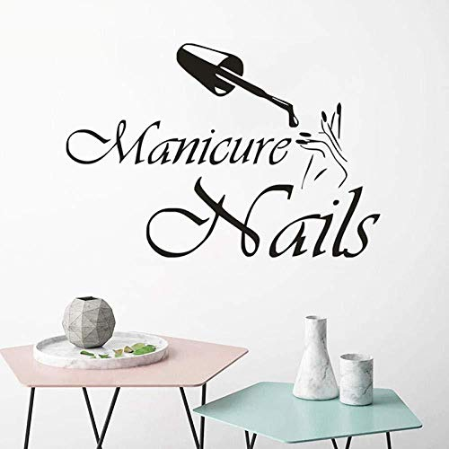 Adesivo Murale Manicure Adesivo murale Ragazza Salone di bellezza Adesivo per finestre Nail Shop Wall Vinyl Art 57x39cm