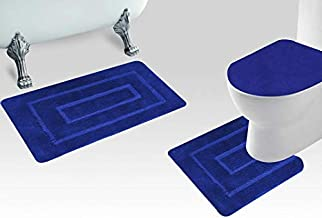 Smart Linen 3 Piece Soft Microfiber Bathroom Rug Set Bath Rug, Contour Mat, and Toilet Lid Cover Non-Slip with Rubber Back...
