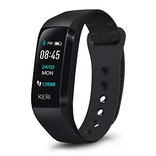 Audar KERi Fitness Armband mit Blutdruck- und Blutsauerstoffmessung Pulsmesser Kalorien- und Schrittzähler Müdigkeit- & Schlafmonitor Stoppuhr Farbdisplay Anruf SMS IP67 Schutz für Damen Herren Kinder
