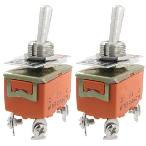 Bayda 2 x AC 250 V 15 A ON/OFF 2 posiciones DPST Interruptor bipolar unidireccional a basculante