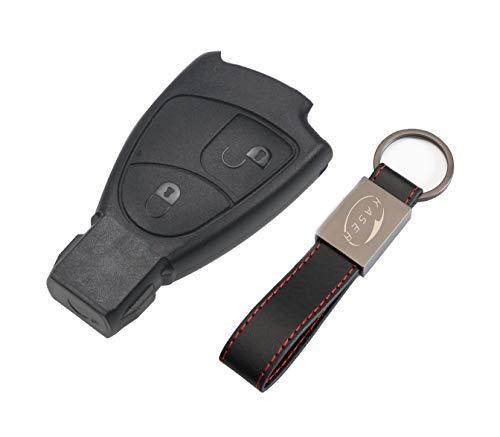Schlüssel Gehäuse Fernbedienung für Mercedes 2 Tasten Autoschlüssel Funkschlüssel Benz Classe B C e CLK SLK (ohne Logo) mit Leder Schlüsselanhänger KASER