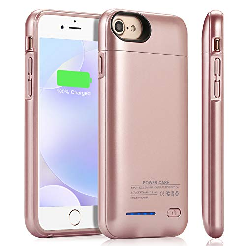 Battery Case for iPhone 8/7/6s/6/SE 2020, YISHDA Upgraded [3000mAh] Magnetic Slim Extended Battery Case,Protective Portable Charging Case,Rechargeable Charging Case (4.7 inch) -Rose Gold