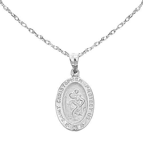 Ritastephens 14k White Gold Saint St. Christopher Oval Medal Pendant Charm Chain Necklace (18' Inches)