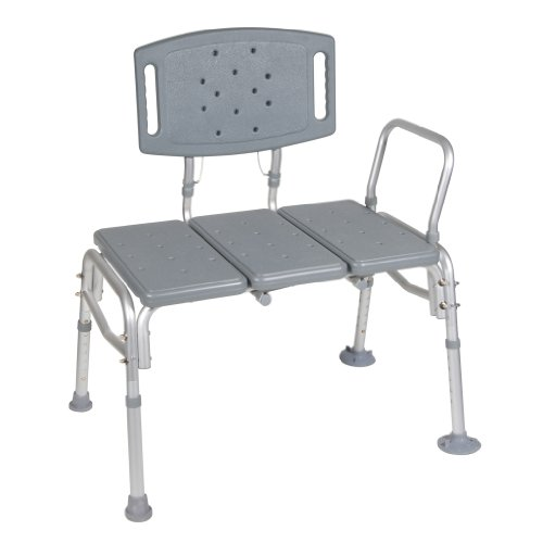 Drive Medical Heavy Duty Bariatric Plastic Seat Transfer Bench, Gray