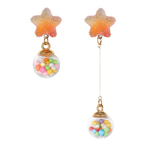 Fluidable Be Fun - Pendientes para mujer, diseño de dulces y dulces de goma, cristal y bolas de espuma, plata de ley 925